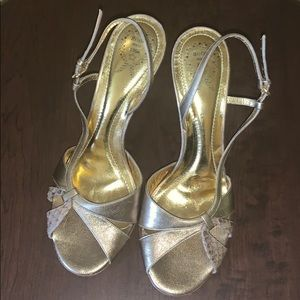 Shoes - RODO GOLD/SNAKESKIN HEELED SANDALS